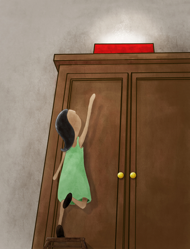 Child climbing wooden stairs in front of wardrobe.